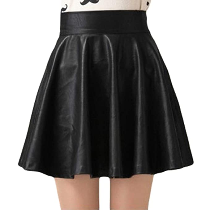 Black Faux Leather A-Line High Waist Mini Skirt Clubwear or Casual