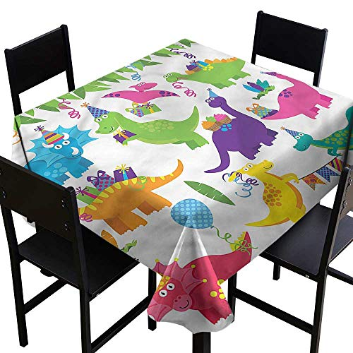 (Dinosaur Party Spill-Proof Table Cover T-Rex Anniversary High-end Durable Creative Home 36 x 36 Inch)