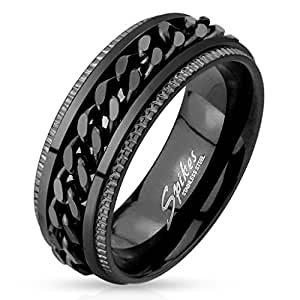 Black IP Grooved Edge Center Chain Spinner Ring in 316L Stainless Steel (stainless-steel, 11)