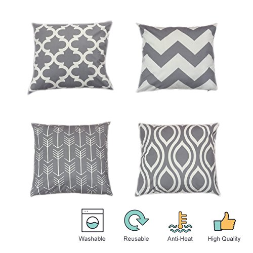 Modern Pillow Decorative (Throw Pillow Covers Decorative Pillow Cases Grey Geometric Soft Solid Square Cushion Covers for Sofa Couch Bed Farmhouse set of 4, 18 x 18 Inch)