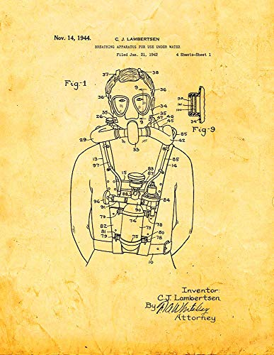 "Breathing Apparatus for Use Under Water Patent Print Golden Look (5"" x 7"") M14254"