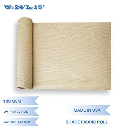 E&K Sunrise 24' x 15' Beige Sun Shade Fabric Sunblock Shade Cloth Roll, 95% UV Resistant Mesh Netting Cover for Outdoor,Backyard,Garden,Greenhouse,Barn,Plant (Customized Sizes Available) by E&K Sunrise