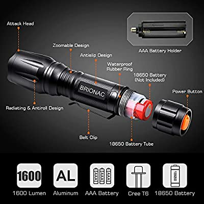 Brionac LED Tactical Flashlight, 1600 Lumen Powerful Waterproof Flashlight-2 Pack, Adjustable Focus and 5 Light Modes, Portable with Belt Clip for Biking Camping Emergency (Batteries Not Included)