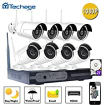 [2tb Hard Drive Preinstalled]Techage 8CH Home Surveillance System Wireless NVR Kit 1080P Video Recorder + 2.0MP Wifi IP Camera CCTV System Kit