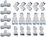Rykey 3/8''OD Quick Connect Push In to Connect Water Tube Fitting Set Of 20 (Y+T+I+L Type Combo) (3/8'')
