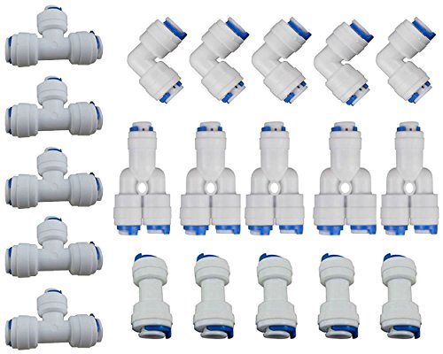 - Rykey 1/4'' OD Quick Connect Push In to Connect Water Tube Fitting Set Of 20 (Y+T+I+L Type Combo) (1/4