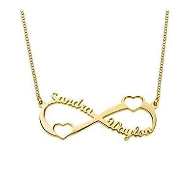 08cf957af58b Souljewelry Collar con 2 Nombres Personalizados con Doble corazón Infinito  Regalo Personalizado para Ella  Amazon.es  Joyería