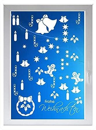 INDIGOS UG - Frohe weihnachten - Farbe: silberfein satiniert - 96x55 cm - Sichtschutzfolie - Fensterfolie - Glasdekorfolie - für die Küche, Frohe weihnachten ans Fenster