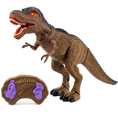 Toysery Remote Control Dinosaur Toy for Kids, RC Walking Realistic Dinosaur Toy Roars, Lights & Sounds Fast Forward Function ()