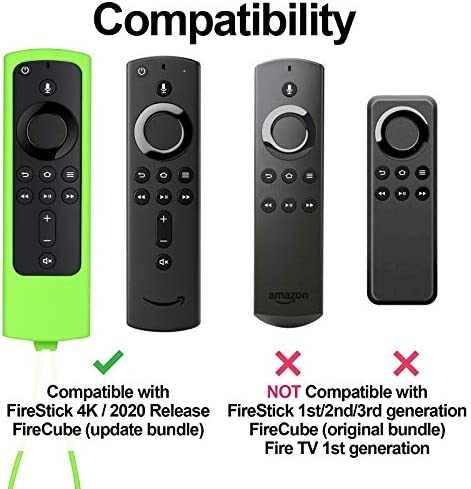 [2 Pack] ZYF Firestick Remote Cover Glow, Anti Slip Shockproof Silicone Protective Cover Case for Fire TV Stick 4k / 2020 Release - Green Glow & Sky Blue Glow