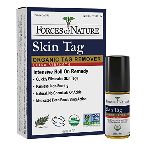 Forces of Nature -Natural, Organic Skin Tag Extra Strength Remover (4ml) Non GMO, No Harmful Chemicals -Safe, Pain and Scar Free, Leaving Skin Smooth and Healthy