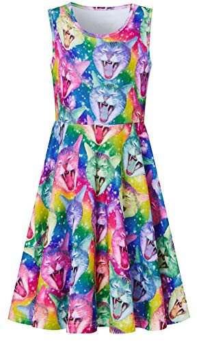 - 10-12 Years Old Girl's Cat Dressing Up Outfits with Unique Colorful Rainbow Stripe Design Ruffles Sleeveless Fairy Dressy Sun Dresses for 13 Young Juniors on Hawaiian Luau Party
