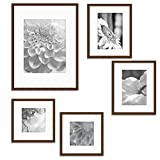 Gallery Perfect 5 Piece Walnut Wood Photo Frame Wall Gallery Kit. Includes: Frames, Hanging Wall Template, Decorative Art Prints and Hanging Hardware
