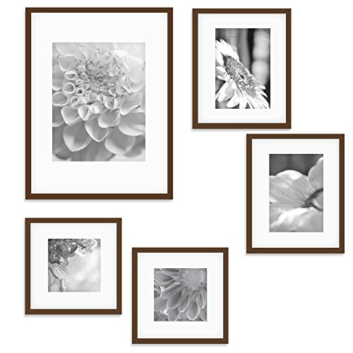 Gallery Perfect 5 Piece Walnut Wood Photo Frame Wall Gallery Kit. Includes: Frames, Hanging Wall Template, Decorative Art Prints and Hanging - Walnut Frame Picture