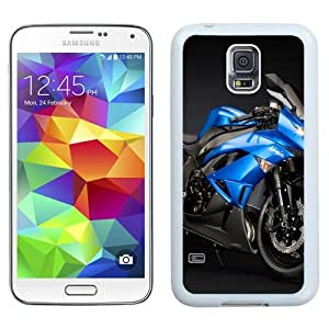Easy use Cell Phone Case Design with Kawasaki Ninja ZX 6R Blue Galaxy S5 Wallpaper in White