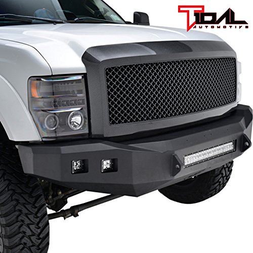 (Tidal Super Duty ABS Replacement Grille With Shell for 08-10 Ford Super Duty F250/F350 - Carbon Fiber Look)