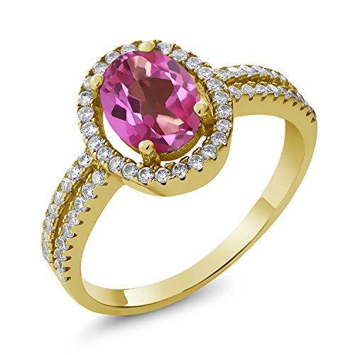 Gem Stone King 2.06 Ct Oval Pink Mystic Topaz 18K Yellow Gold Plated Silver Ring (Size 7)