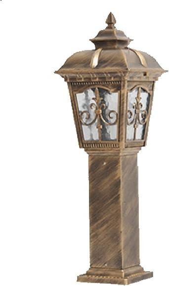 Calle Farol al aire libre Jardín de luz impermeable aluminio columnas de lámpara de rústico de jardín de cuadrado de césped lámpara 65 cm negro latón faroles: Amazon.es: Iluminación