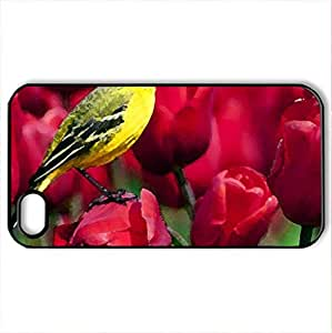 Bird and tulips - Case Cover for iPhone 4 and 4s (Birds Series, Watercolor style, Black)
