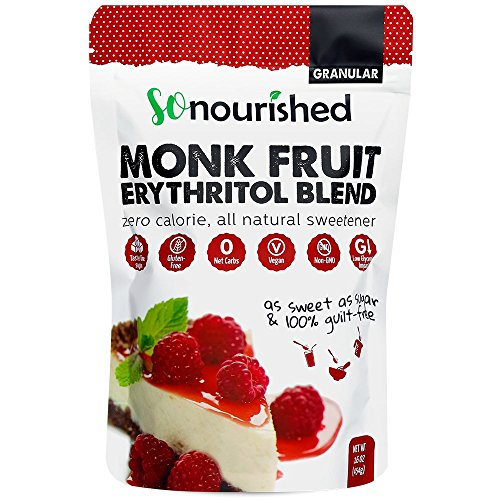 Granular Monk Fruit + Erythritol Sweetener (1 lb / 16 oz) - Perfect for Diabetics and Low Carb Dieters - 1:1 Sugar Replacement - No Calorie Sweetener, Non-GMO, Natural Sugar Substitute