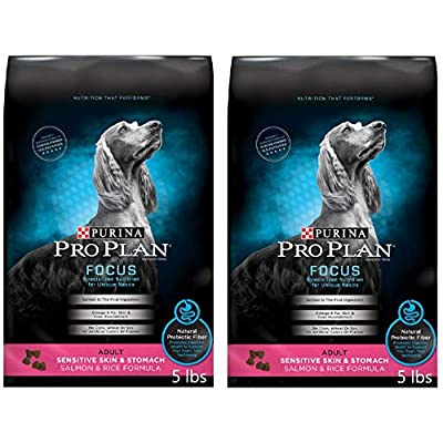 2 Bags of Purina Pro Plan Focus Adult Sensitive Skin & Stomach Salmon & Rice Formula Dry Dog Food 5-lbs ea