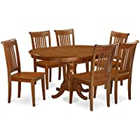 East West Furniture PORT7-SBR-W 7-Piece Dining Table Set