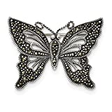 24.5mm Sterling Silver Antiqued Marcasite Butterfly Pin