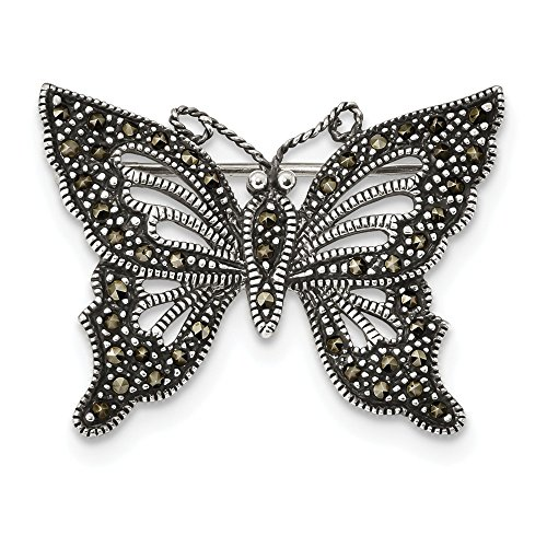 925 Sterling Silver Marcasite Butterfly Pin Fine Jewelry Gifts For Women For Her ()