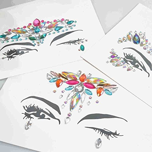 8 Packs Festival Face Jewels Rhinestones Gems Face Crystals Tattoo Jewelry for Forehead Body Decorations Party Supplies, Makeup Rhinestone Face Jewels Stickers, Women Mermaid Face Gems Glitter by Imagination Park (Image #6)