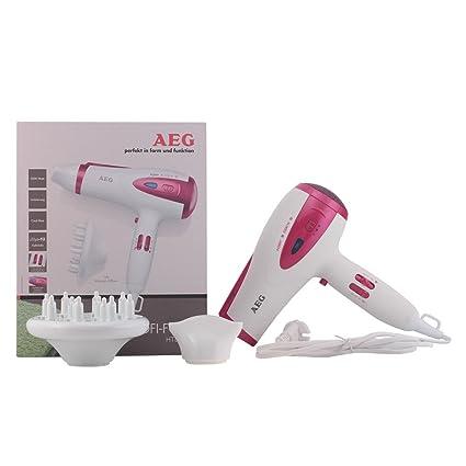 AEG HTD 5584 Foen - Secador de pelo, color blanco y rosa