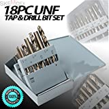 SKEMiDEX---18pc Taps & Drill Bits UNF Professional HSS Construction Metal Work Set. Drill round holes in most metals, plastic, wood...etc Self-starting tip will not skid