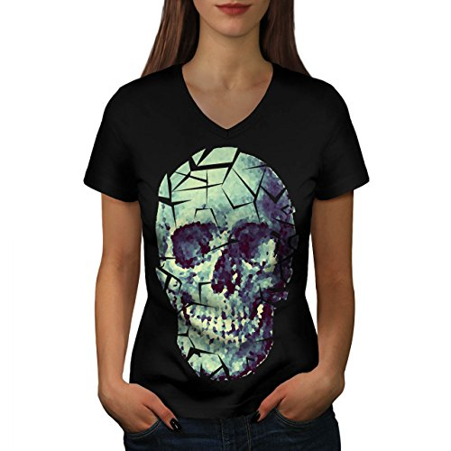 Glass Skull Shatter Evil Mask Women NEW S V-Neck T-shirt | Wellcoda