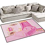 Princess,Carpet,Interior of Magic Princess Bedroom Old Fashioned Ornament Pillow Mirror Print,Print Area Rug,Pink Yellow Size:40''x55''