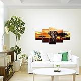 Bilder-Afrika-Elefant-Wandbild-Vlies-Leinwand-Bild-XXL-Format-Wandbilder-Wohnzimmer-Wohnung-Deko-Kunstdrucke-Orang-5-Teilig-100-MADE-IN-GERMANY-Fertig-zum-Aufhngen-001252a