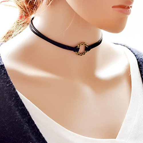 Black Diamond Fire Boots - Botrong® Gothic Black Velvet Retro Choker Collar Necklace Jewelry Flower Pendant