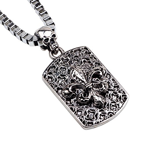 Winter's Secret the French Romantic Flower Men Necklace Fashion Cross Flower Skull Bone Pendant 22.44