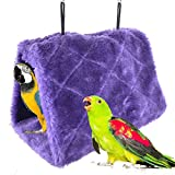 Winter Warm Bird Nest House Shed Hut Hanging Hammock Finch Cage Plush Fluffy Birds Hut Hideaway for Hamster Parrot Macaw Budgies Eclectus Parakeet Cockatiels Cockatoo Lovebird (M, Purple)