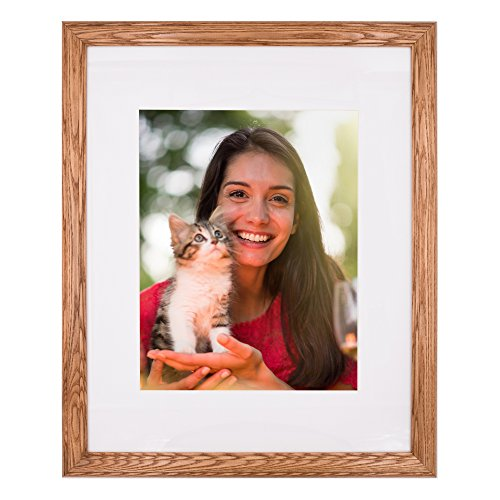 New 16x20 Picture Frame - Light Oak Ash Hardwood w/Mat for Family & Friends Photos, 1-1/4 Inch Wide Molding - Hand Made in USA by Northern