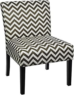 Roundhill Furniture Botticelli English Letter Print Fabric Armless Contemporary Accent Chair, Single-P