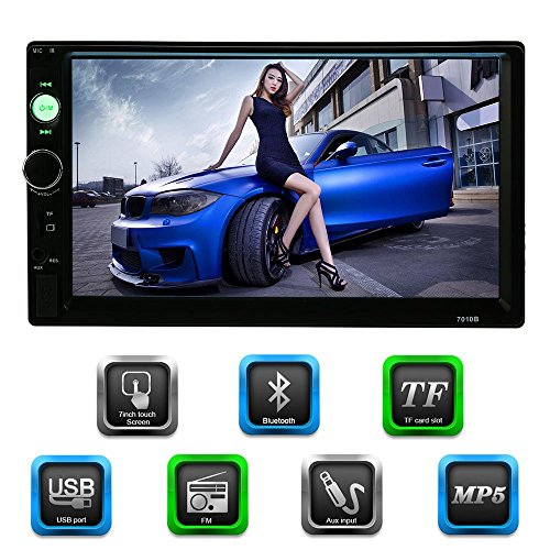 KKmoon 7 Inch 2 Din HD Bluetooth Car Radio MP5 Player & Receiver Multimedia Radio Entertainment USB/TF FM Aux Input