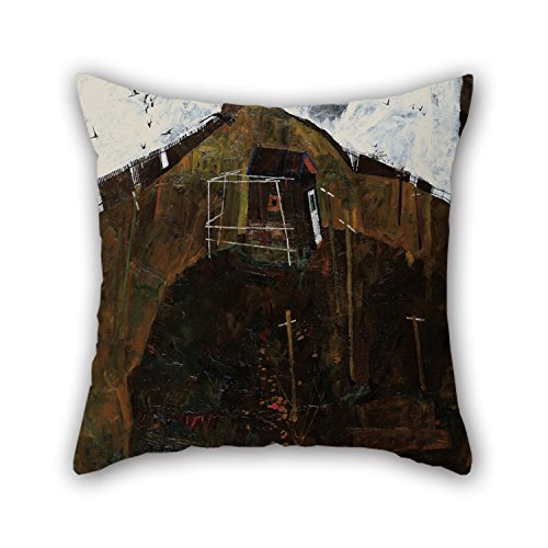 (Bestseason 20 X 20 Inches / 50 By 50 Cm Oil Painting Egon Schiele - Landscape With Ravens Throw Christmas Pillow Covers Two Sides Is Fit For Monther Gril Friend Sofa Adults Christmas Bar)