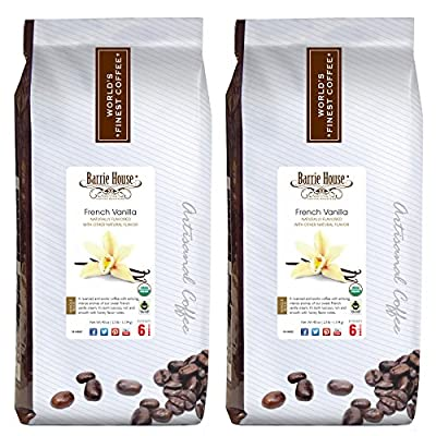 Barrie House Whole Bean Naturally Flavored Coffee, Fair Trade, USDA Certified Organic Bundled 5 lbs - 2 Packs of 2.5 lbs