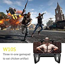 Mobile Game Controllers, KOBWA 2019 Newest Multifunctional PUBG Game Pad or Phone Holder Handgrip Joysticks Controller Sensitive Shoot Aim for Fortnite/Rules of Survival/Knives Out for Android iOS