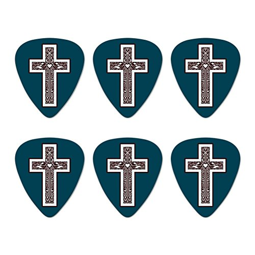 Cross with Heart Christianity Novelty Guitar Picks Medium Gauge - Set of 6