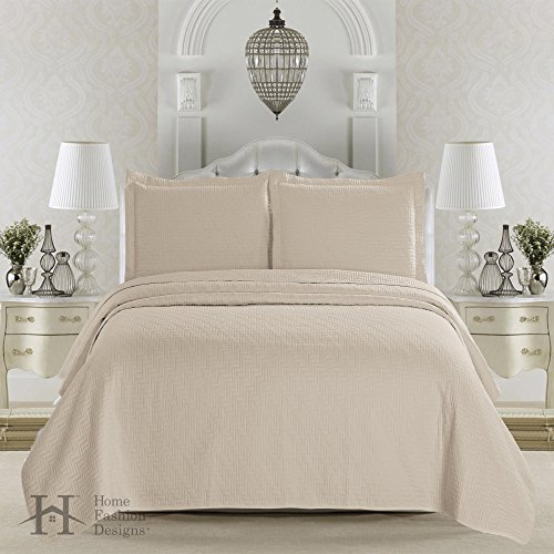 Emerson Collection 3-Piece Luxury Quilt Set with Shams. Soft All-Season Microfiber Bedspread and Coverlet in Solid Colors. By Home Fashion Designs Brand. (Twin, Sandshell) (Twin Beige Bedspread)