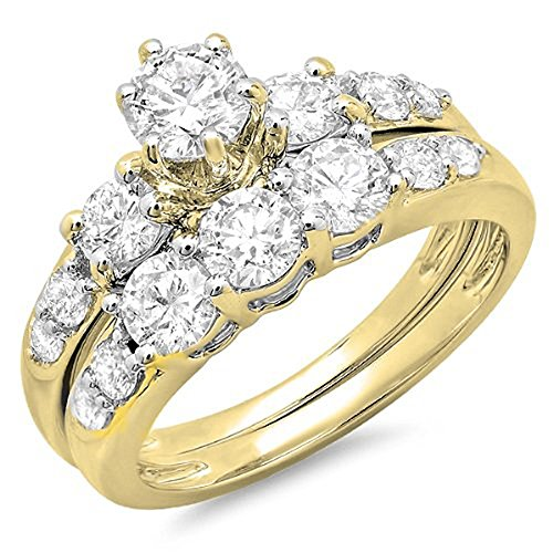 3ct Past Present Future Ring - DazzlingRock Collection 3.00 Carat (ctw) 10K Yellow Gold White Cubic Zirconia 3 Stone Engagement Ring Set 3 CT (Size 10)