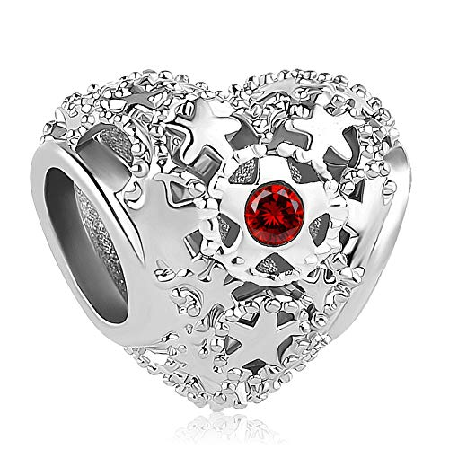 Cherris Birthday Charms Heart Love Birthstone Charms Beads for Snake Chain Bracelets (January)