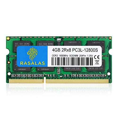 Rasalas 4 GB DDR3 PC3-12800 DDR3 1600 MHz SODIMM RAM PC3L 12800S DDR3 1600 2Rx8 1.35V CL11 Notebook RAM Geheugenmodules…