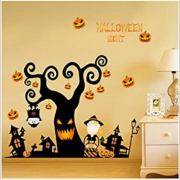 happy halloween diy wall decal wall stickers bedroom home window sticker mural decorations for baby kids - Happy Halloween Stickers