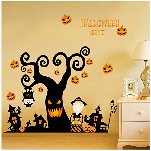 Cute Halloween Quotes Baby (Happy Halloween DIY Wall Decal Wall Stickers Bedroom Home Window Sticker Mural Decorations for Baby Kids Room Nursery Halloween Party by Raleighsee)